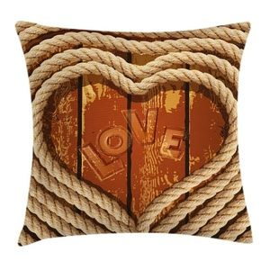 Pillow Case Love Hearts Plank Cover No Insert